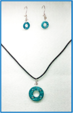 Blue Painted Stainless Steel Earring and Pendant Set with Sterling Silver Handmade Earring Wires