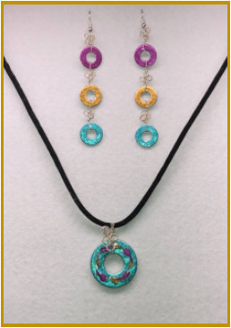 Multicolored Stainless Steel Pendant and Earring Set with Stirling Silver Ear Wires