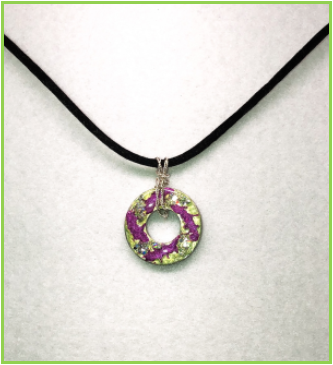 Multicolored Stainless Steel Disk Pendant with Sterling Silver Bail