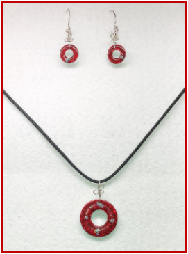 Red Painted Stainless Steel Earring and Pendant Set with Sterling Silver Handmade Earring Wires